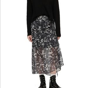 All saints Floral navy maxi skirt size 4